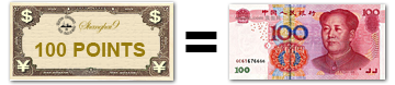 100 Points = 100 RMB